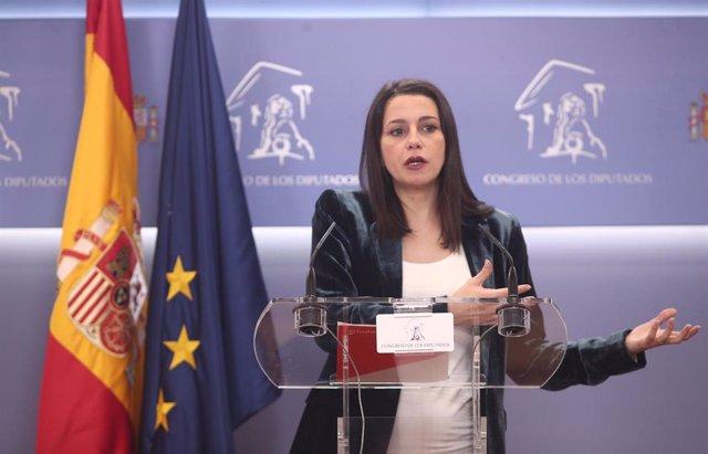 La presidenta de Ciudadanos y portavoz en el Congreso de los Diputados, Inés Arrimadas.
