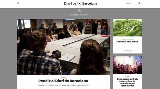 Portada del 'Diari de Barcelona'