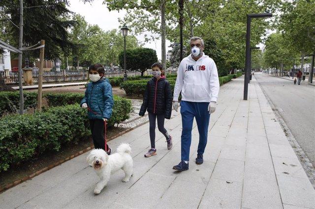 Dos niños con mascarillas acompañados por su padre pasean al perro , el primer día en el que los menores de 14 años pueden salir a la calle durante el estado de alarma por la crisis del coronavirus en el país. En Granada a 26 de abril de 2020.