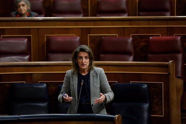 """La vicepresidenta cuarta del gobierno y ministra para la Transición Ecológica, Teresa Ribera, durante su intervención en la sesión de control al Ejecutivo celebrada este miércoles, después de que el Consejo de Ministros aprobara este martes el llamado """"Pl"""