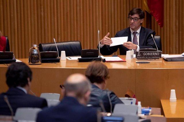 El ministro de Sanidad, Salvador Illa, durante su comparecencia en la Comisión de Sanidad del Congreso de los Diputados en Madrid (España), a 26 de marzo de 2020.