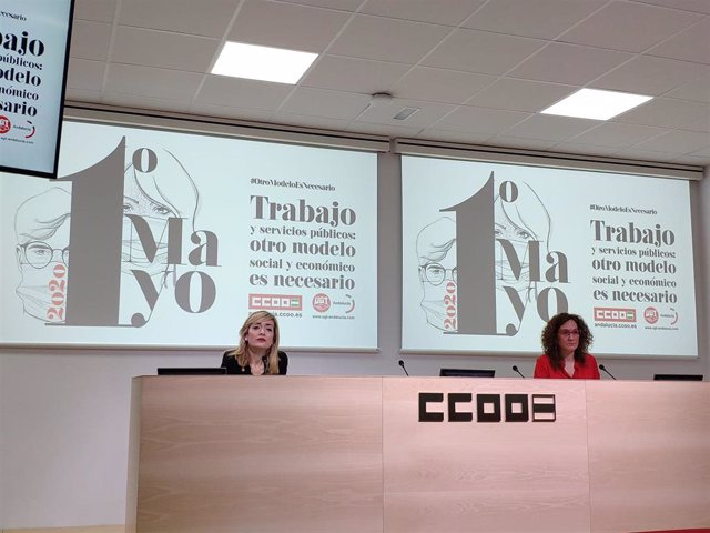 Las secretarias generales de CCOO-A y UGT-A, Nuria López y Carmen Castilla, respectivamente, en rueda de prensa.
