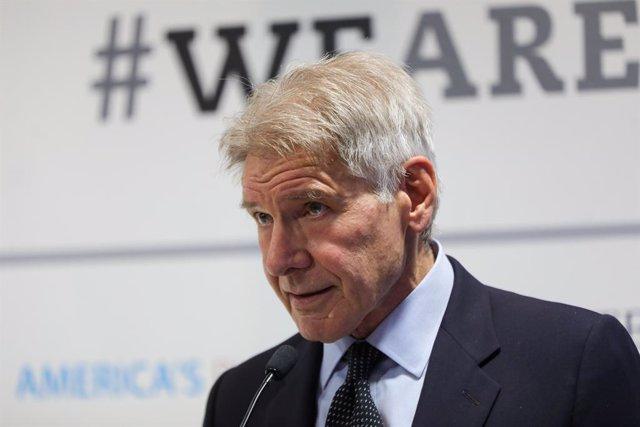 El actor norteamericano y activista medioambiental Harrison Ford, durante su intervención en la presentación de un nuevo informe de 'America's Pledge on Climate Change' la Cumbre del Clima (COP25), en la Feria de Madrid (IFEMA)