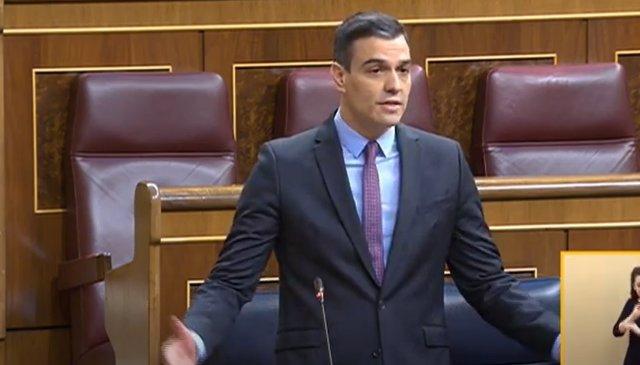 Pedro Sánchez durante la sesión de control al Gobierno en el Copngreso