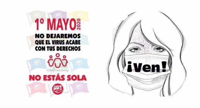 Uno de los carteles que animan a participar en la movilización virtual del 1 de Mayo de 2020.