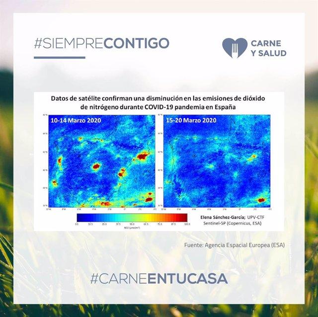 Datos de satélite que muestran la disminución de la contaminación