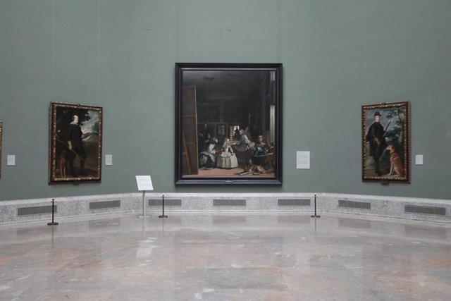 Sala de Las Meninas del Museo Nacional del Prado, vacía por el cierre temporal del Museo por la pandemia del Covid-19. Desde el Prado se plantean un plan de desescalada en tres fases, siendo la última la apertura del museo al público, con un régimen de ap