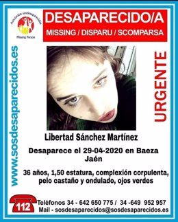 Cartel difunddo desde SOS Desaparecidos