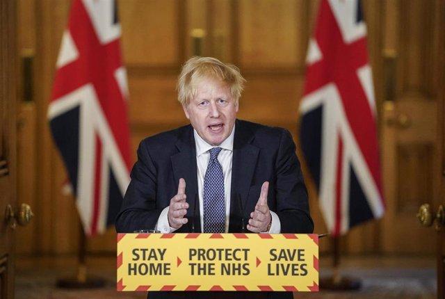 Boris Johnson en su primera comparecencia tras recuperarse del coronavirus.