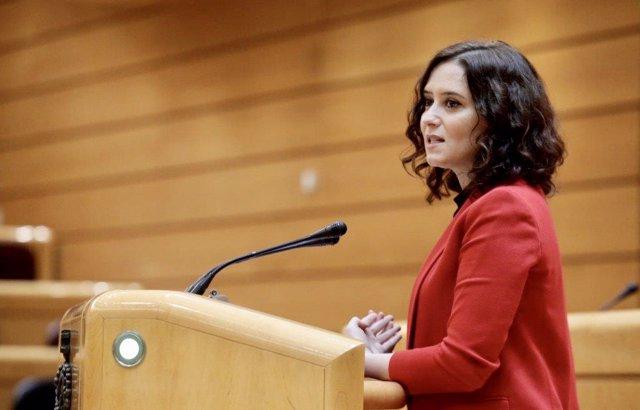 La presidenta de la Comunidad de Madrid, Isabel Díaz Ayuso, durante su intervención en la sesión de la Comisión General de Comunidades Autónomas celebrada en el Senado este jueves a cuenta de la gestión de la pandemia de la COVID-19  .