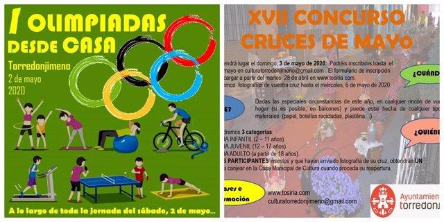 Carteles de las actividades 'I Olimpiadas desde casa' y 'XVII Concurso Cruces de Mayo' del Ayuntamiento de Torredonjimeno