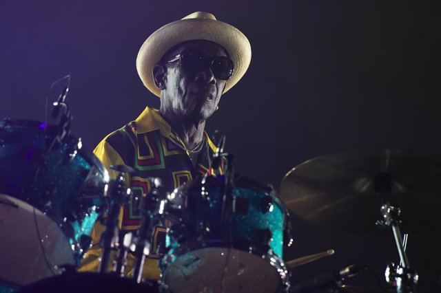 Drummer Tony Allen performs live with Dj and producer Jeff Mills during the event called 'AFRICA NOW @OGR' on September 22, 2018