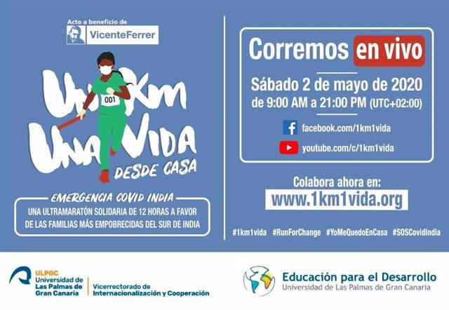 Cartel Corremos en vivo 1km1vida a favor de la Fundación Vicente Ferrer