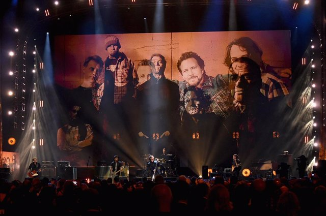 Pearl Jam performs onstage at the 32nd Annual Rock & Roll Hall Of Fame Induction Ceremony at Barclays Center on April 7, 2017 in New York City