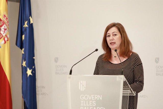 La presidenta del Govern, Francina Armengol, comparece en el Consolat de Mar. Imagen de recurso.