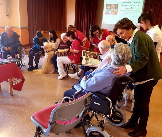 La residencia Romareda ofrece terapias de estimulación con animales a personas dependientes
