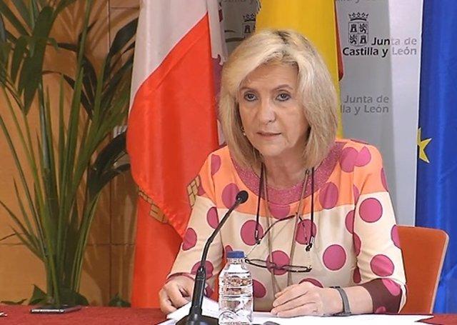 Verónica Casado, la consejera de Sanidad, en su comparecencia diaria para informar de la evolución de la pandemia en CyL.