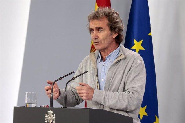 El director del Centro de Coordinación de Alertas y Emergencias Sanitarias del Ministerio de Sanidad, Fernando Simón, en rueda de prensa tras la reunión del Comité Técnico de Gestión del Coronavirus, en Madrid (España), a 27 de abril de 2020.