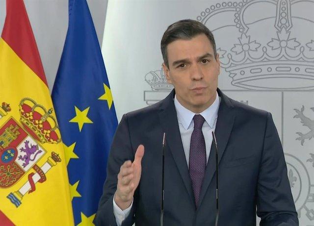 Rueda de prensa telemática del presidente del Gobierno, Pedro Sánchez