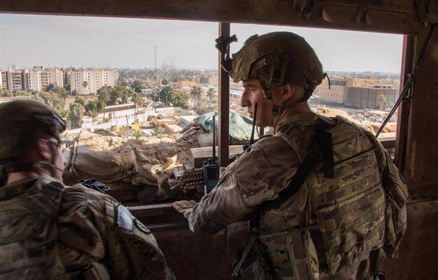 Imagen de militares estadounidenses en la Embajada de EEUU en Bagdad.