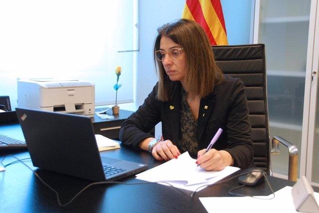 La  consellera de Presidencia, Meritxell Budó, en la reunión del Consell Executiu realizada por videoconferencia
