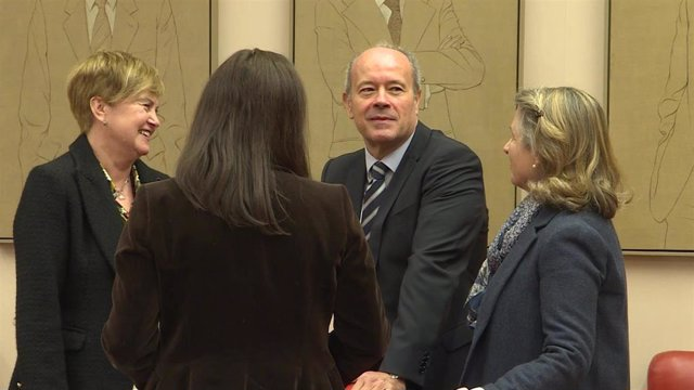Captura de pantalla del ministro de Justicia, Juan Carlos Campo (3i) junto a otros miembros del Departamento para informar sobre las líneas generales de su política, en el Congreso de los Diputados, en Madrid (España), a 17 de febrero de 2020.