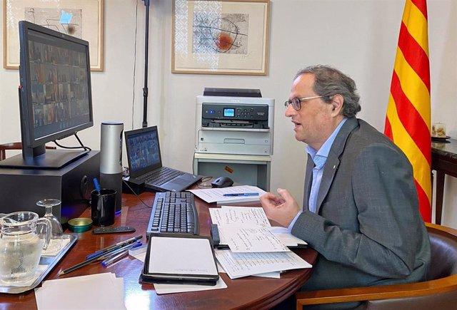 El presidente de la Genralitat, Quim Torra, durante la séptima reunión telemática de presindentes autonómicos por el coronavirus con el Ejecutivo.