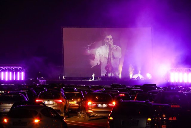 German Rapper Sido performs at the Georg Schutz drive-in cinema during the coronavirus crisis on April 26, 2020 in Dusseldorf, Germany.