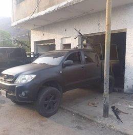 """Camioneta con ametralladora usada en un intento de """"invasión"""" contra Venezuela"""