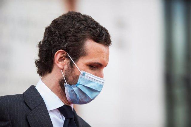 Pablo Casado, secretari general del Partit Popular, durant l'acte d'homenatge als herois del coronavirus, Madrid (Espanya), 2 de maig del 2020.