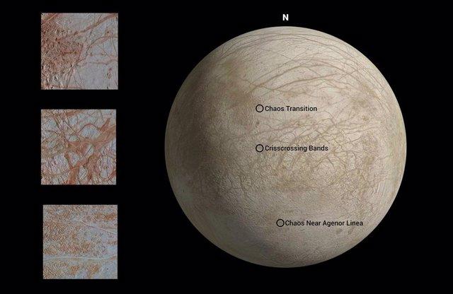 Imágenes reprocesadas de los 90 ilustran el caos de la luna Europa