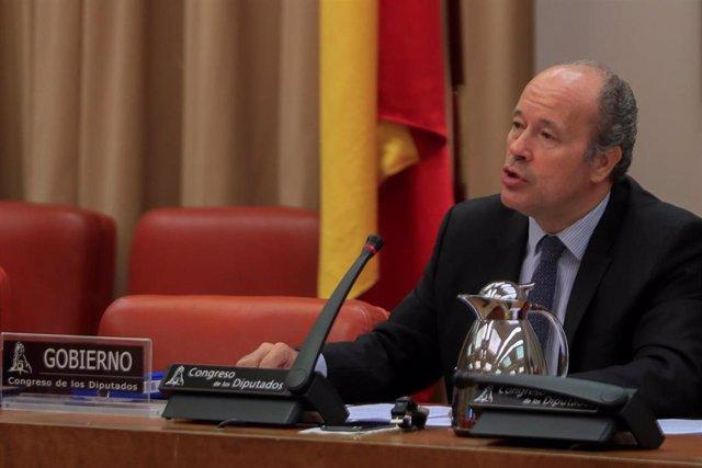 El ministro de Justicia, Juan Carlos Campo, durante su comparecencia  ante la Comisión de Justicia del Congreso de los Diputados para explicar las medidas diseñadas con el fin de evitar el colapso de los juzgados tras el estado de alarma, en Madrid (Esp