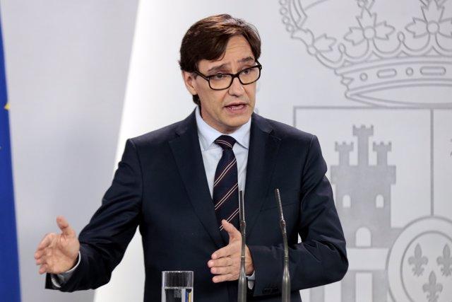 El ministro de Sanidad, Salvador Illa, durante una rueda de prensa un día después de que el presidente del Gobierno, Pedro Sánchez, anunciara el nuevo plan de desescalada contra el Covid-19, en Madrid (España) a 29 de abril de 2020.