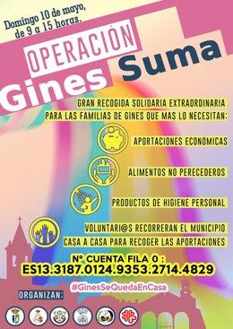 Cartel de la campaña solidaria 'Operación Gines suma', que tendrá lugar este domingo en el municipio sevillano