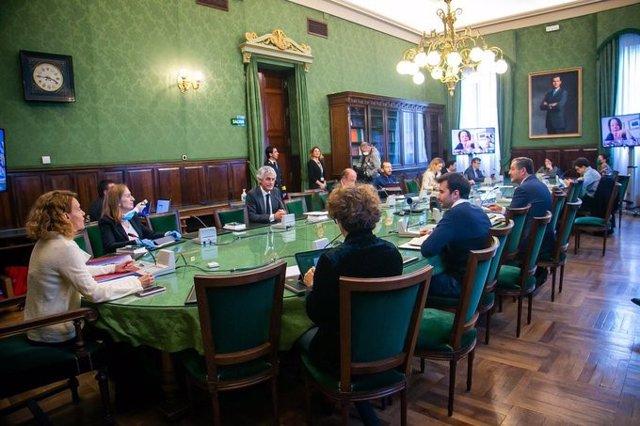 Reunión de la Junta de Portavoces del Congreso con intervenciones telemáticas y bajo la presidencia de Meritxell Batet