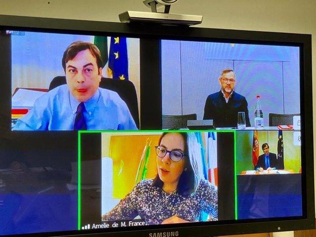 El Secretario de Estado para la Unión Europea, Juan González-Barba, en reunión por videoconferencia con sus homólogos de Francia, Amélie de Montchalin, de Alemania, Michael Roth y de Italia, Enzo Amendola.