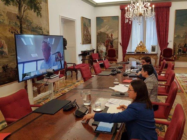 La ministra de Asuntos Exteriores, Arancha González Laya, en videoconferencia con el Foro de Marcas Renombradas Españolas