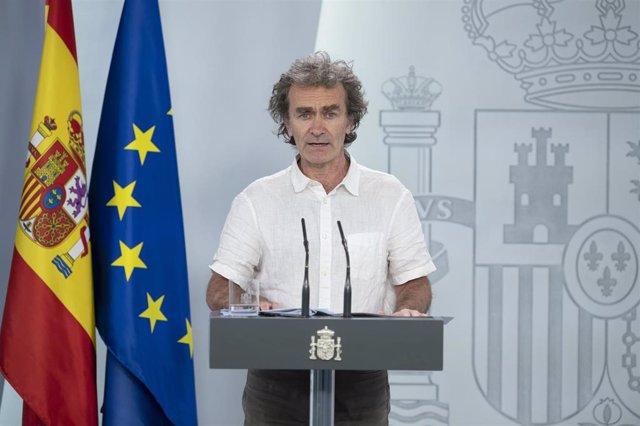 El director del Centro de Alertas y Emergencias Sanitarias, Fernando Simón, durante una comparecencia para actualizar información sobre la evolución de la pandemia del Covid-19