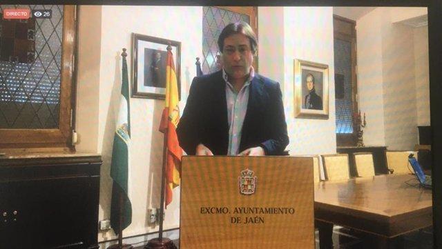 El concejal de Cultura, Turismo y Patrimonio de Jaén, José Manuel Higueras, en rueda de prensa telemática.