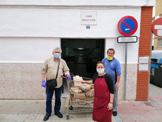 Imagen del comedor social 'Virgen de la Cinta' de Huelva durante el estado de alarma