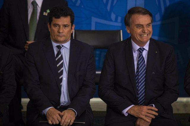 El presidente de Brasil, Jair Bolsonaro, y el exministro de Justicia y Seguridad Pública Sergio Moro.