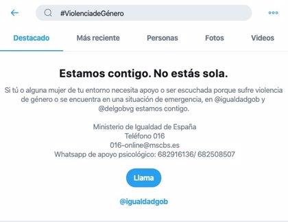 Twitter amplía su servicio #BuscaAyuda para prevenir la violencia de género en colaboración con Igualdad