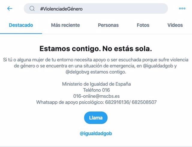 Twitter, en colaboración con el Ministerio de Igualdad, amplía su servicio #BuscaAyuda para prevenir la Violencia de Género
