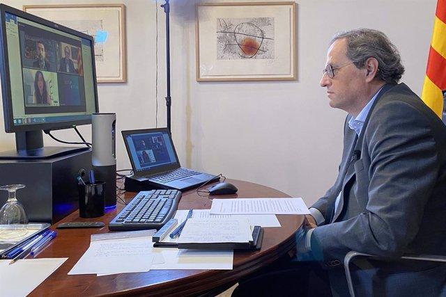 El president de la Generalitat, Quim Torra, participa en la inauguració de les jornades 'Reactivem-ens' de la Càmera de Barcelona.