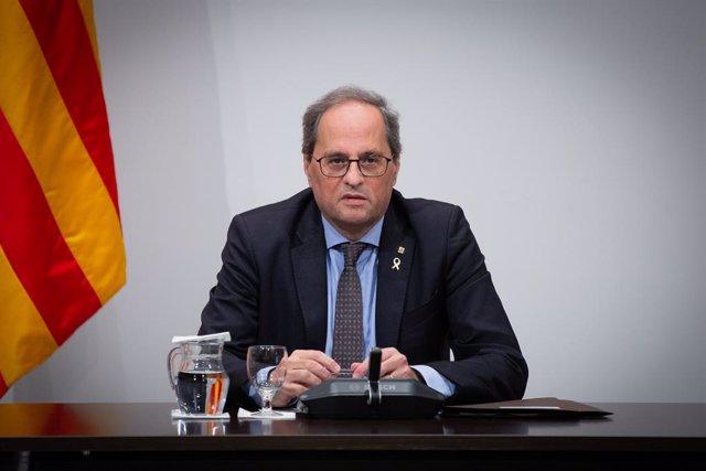 El president de la Generalitat, Quim Torra, presideix una reunió extraordinària del Consell Executiu per analitzar l'evolució del coronavirus, a Barcelona/Catalunya (Espanya) a 12 de març de 2020.