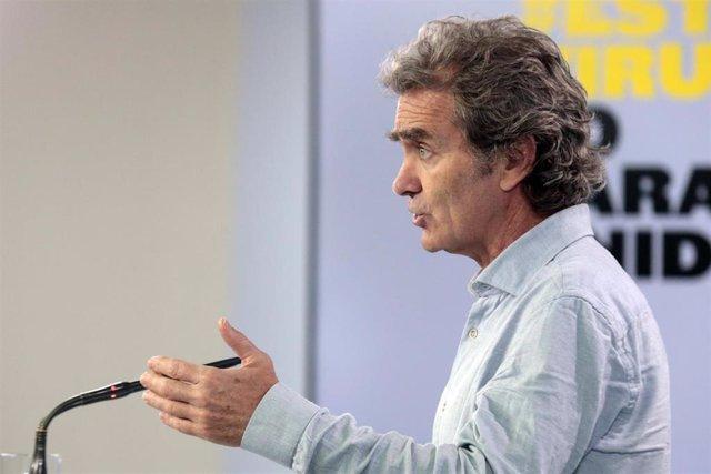 El director del Centro de Coordinación de Emergencias del Ministerio de Sanidad, Fernando Simón, interviene en la comparecencia convocada tras la reunión del Comité de Gestión Técnica del Coronavirus. En Madrid, (España), a 5 de mayo de 2020.