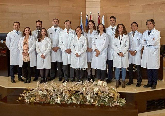 El equipo de enfermería de la Unidad de Ostomías del Hospital Universitario HM Sanchinarro, formada por Alberto Lado, Ainhoa Jiménez, Patricia Hidalgo y Alejandra Antón