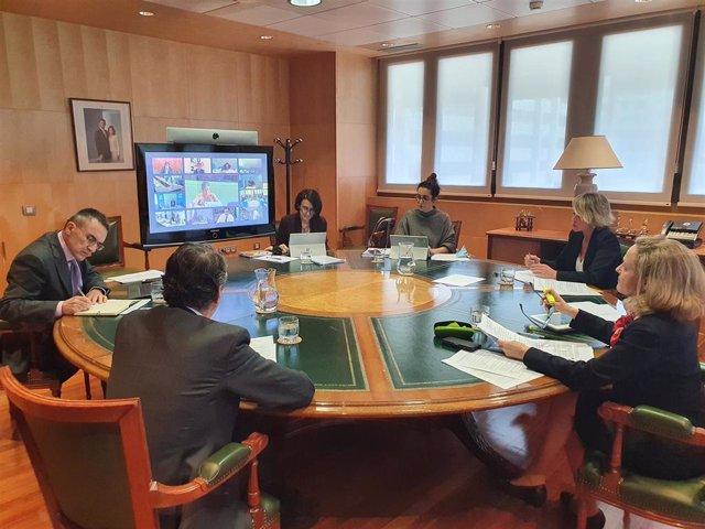 La vicepresidenta tercera del Gobierno y ministra de Asuntos Económicos y Transformación Digital, Nadia Calviño, participa en el Consejo Europeo de ministros de Telecomunicacione