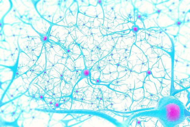 Ilustración en 3D de neuronas en el cerebro