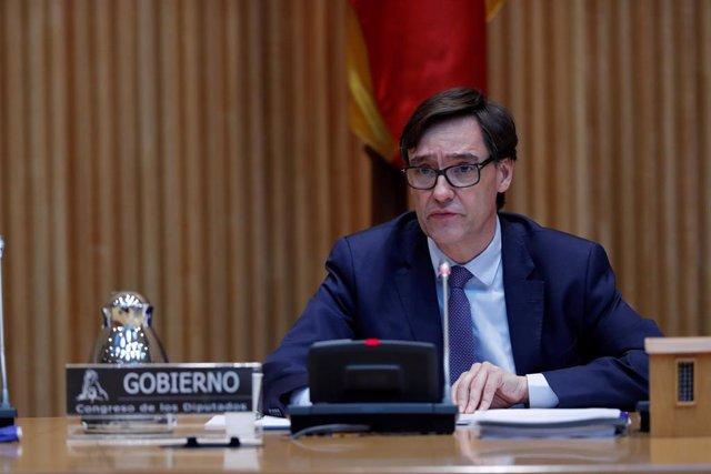 El ministro de Sanidad, Salvador Illa, comparece este jueves ante la Comisión de Sanidad y Consumo para actualizar la información sobre la situación y las medidas adoptadas en relación al COVID-19. En Madrid (España), a 30 de abril de 2020.